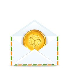 envelope with golden coin for St Patricks Day vector image vector image