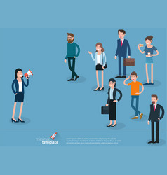 flat design woman promoter with loudspeaker vector image vector image