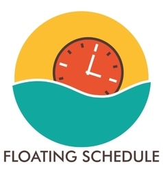 Floating schedule time clock line icon with vector