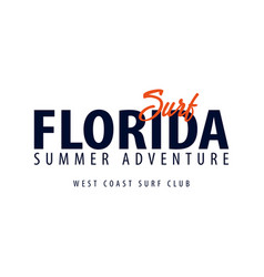 Florida surfing emblem or logo vector