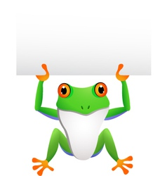 frog with blank sign vector image vector image