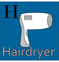 H letter alphabet coloring book hairdryer vector