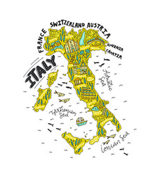 Handdrawn map of italy vector