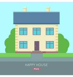 Happy House Web Banner in Flat Design vector image