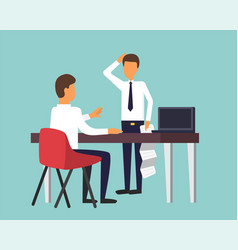 he chief and employee office manager holding vector image vector image