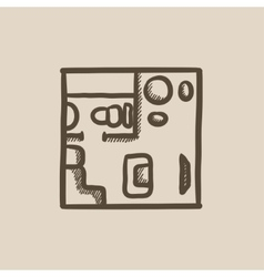 House interior with furniture sketch icon vector image vector image