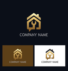 house repair gold logo vector image