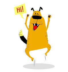 Jumping joyful dog cute cartoon vector