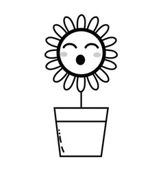 Line kawaii beauty and funny flower plant vector