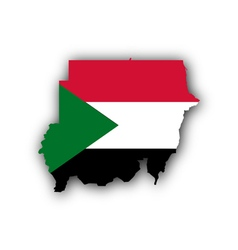 Map and flag of sudan vector