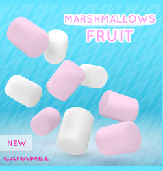 marshmallow white and pink on isolated vector image