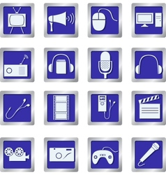 media icons on square buttons vector image vector image