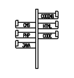 Monochrome silhouette of bar with programming vector