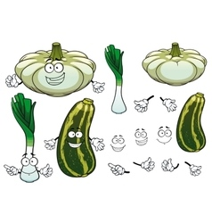 Onion squash and zucchini vegetables vector image