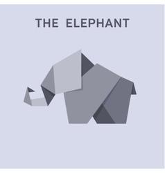 Origami elephant flat style design vector image