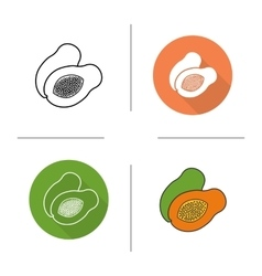 Papaya flat design linear and color icons set vector image vector image