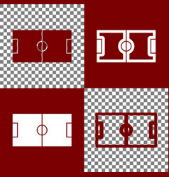 Soccer field bordo and white icons and vector