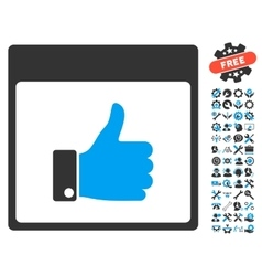 Thumb up hand calendar page icon with bonus vector