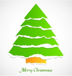 Torn paper green christmas tree vector image vector image