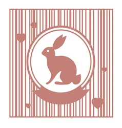 Valentive stamp design with rabbit vector