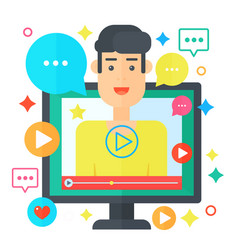 Video blogger concept computer screen with man vector