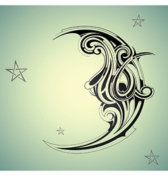 Vintage moon night vector
