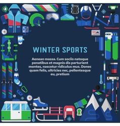 Winter sports lifestyle border frame vector