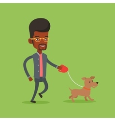 Young man walking with his dog vector image