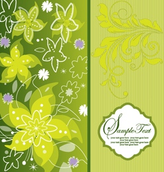 Green flower background greeting card vector