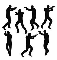 gunman businessman silhouette in black vector image