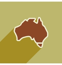 flat icon with long shadow map of Australia vector image