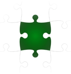 White puzzle pieces with one green missing vector