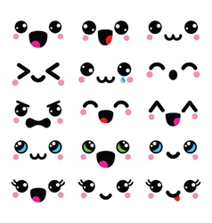Kawaii cute faces kawaii emoticons adorable vector