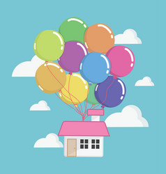 house with lots of colorful balloons flying vector image