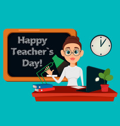 teacher sitting at her desk while lesson in vector image