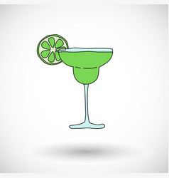Cocktail margarita icon with round shadow vector