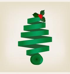 Festive green christmas tree of coiled ribbon vector