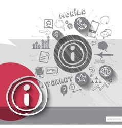 Paper and hand drawn internet emblem with icons vector image