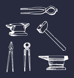Set of vintage tools icon vector