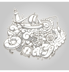 Summer sailing abstraction colorless vector image