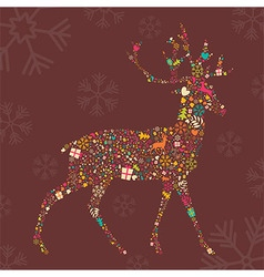 Ornamental christmas reindeer with snowflakes vector