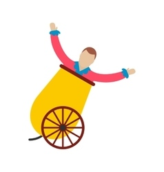 Circus man in cannon icon vector