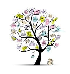 Shopping bag tree vector