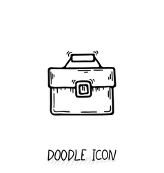 Business suitcase icon in a doodle style vector