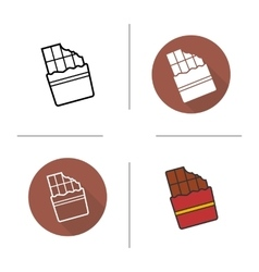 Chocolate bar flat design linear and color icons vector