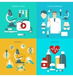 Flat medicine icon set vector