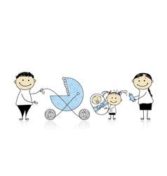 Parents walking with children baby in buggy vector image