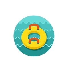 Towable water tube inflatble boat icon vacation vector