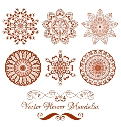 Set of henna color mandala over white vector