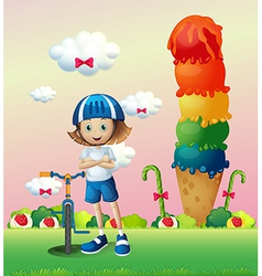 A girl and her bike in the candyland vector